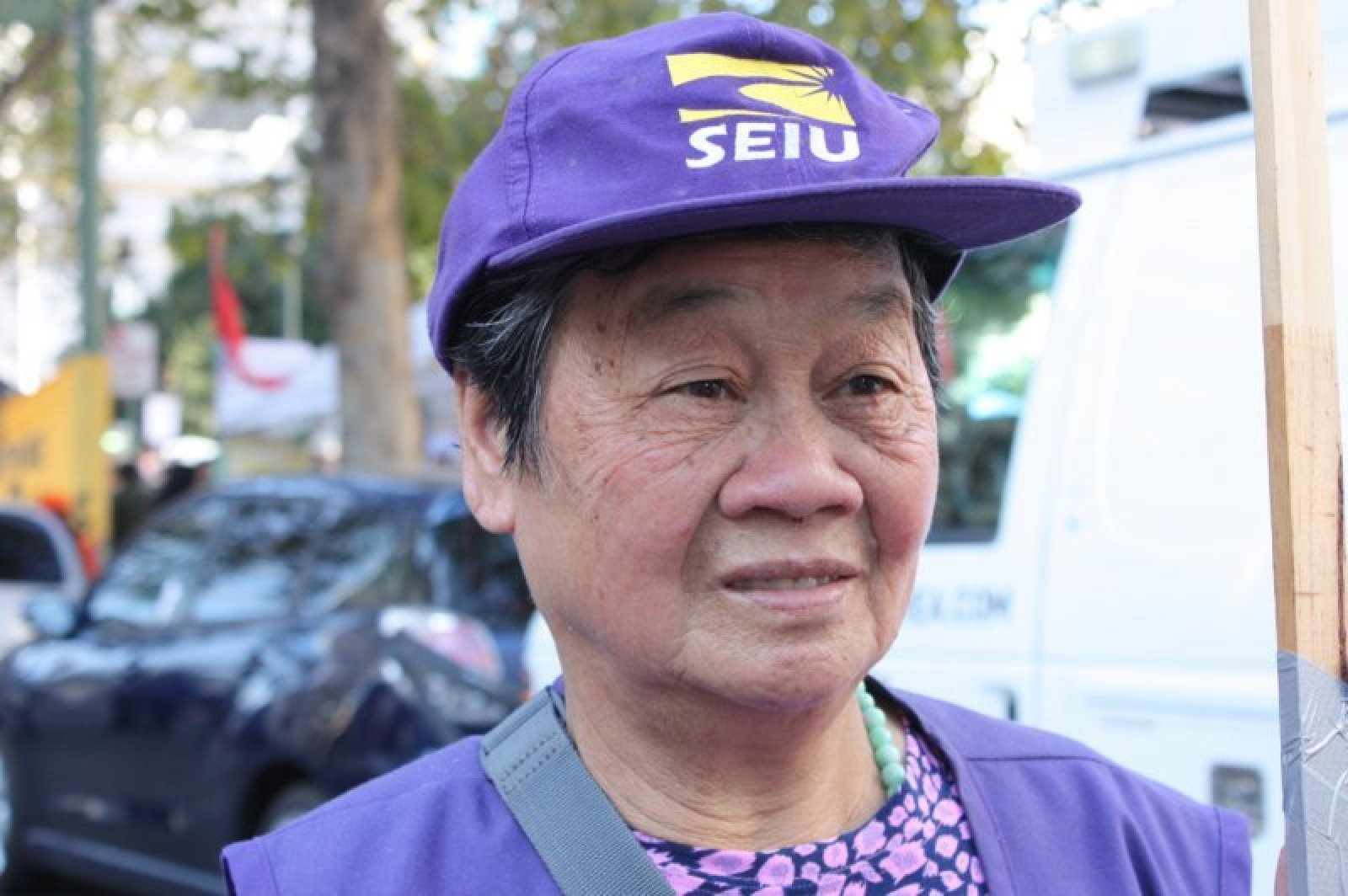 Xin Fong Huang, 74, participated in the general strike to support working conditions for home care workers. Photo: Rosa Ramirez